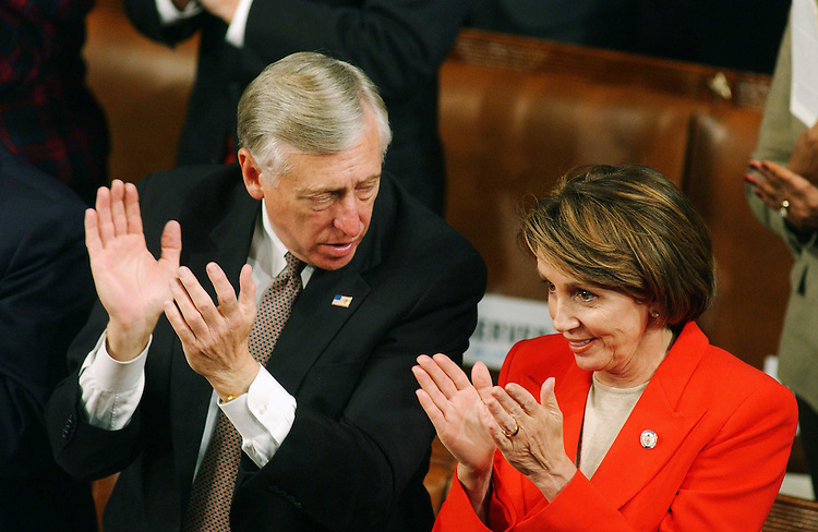 1/28/03.STATE OF THE UNION ADDRESS--House Minority Whip Steny H. Hoyer, D-Md., and House Minority Leader Nancy Pelosi, D-Calif., applaud during President George W. Bush's State of the Union address at the U.S. Capitol..CONGRESSIONAL QUARTERLY PHOTO BY SCOTT J. FERRELL