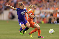 Houston, TX - Friday May 20, 2016: Josee Belanger (9) of the Orlando Pride battles Kealia Ohai (7) of the Houston Dash for the ball. The Orlando Pride defeated the Houston Dash 1-0 during a regular season National Women's Soccer League (NWSL) match at BBVA Compass Stadium.