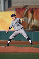 Jordan Bocko (38) of the UC Irvine Anteaters pitches against the Southern California Trojans at Dedeaux Field on April 18, 2017 in Los Angeles, California. UC Irvine defeated Southern California, 14-3. (Larry Goren/Four Seam Images)