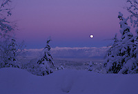 Alpenglow Moonrise on southern rockies from Kimberley, BC