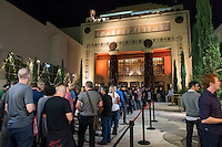 """Live Talks Los Angeles presents """"An Evening with Terry Gilliam"""" at the Alex Theater in Glendale, Oct. 19, 2015. Gilliam '62 discussed his 'Pre-posthumous Memoir' """"Gilliamesque"""" with host Sam Rubin '82.<br /> Gilliam is a screenwriter, director, animator, actor, and member of the Monty Python comedy troupe.<br /> (Photo by Marc Campos, Occidental College Photographer)"""
