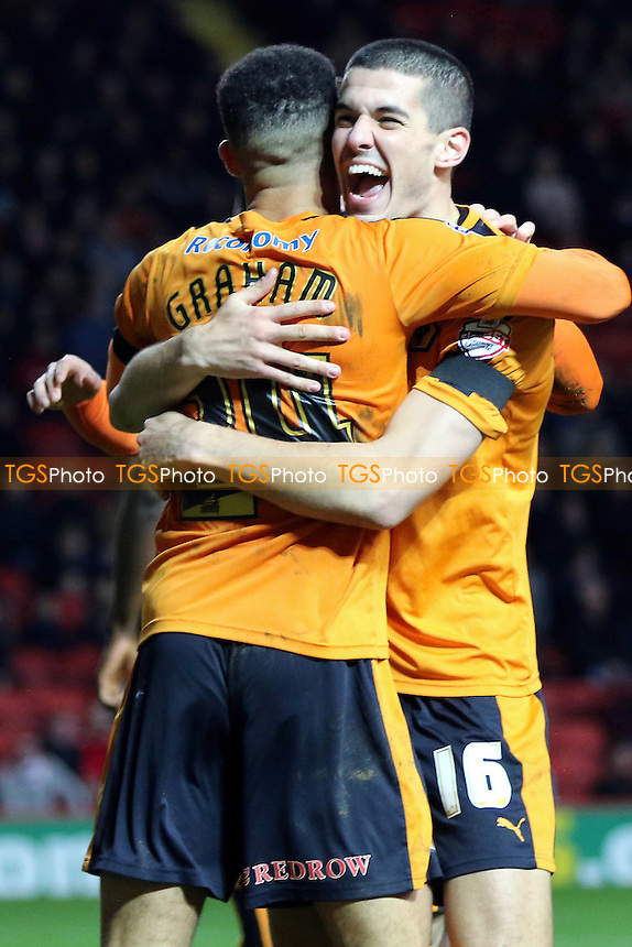 Conor Coady congratulates Jordan Graham after scoring Wolves opening goal during Charlton Athletic vs Wolverhampton Wanderers, Sky Bet Championship Football at The Valley, London, England on 28/12/2015