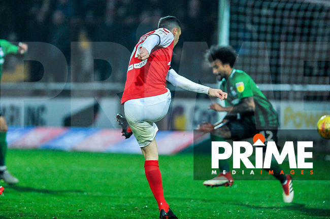 Fleetwood Town's midfielder Dean Marney (25) opens the scoring during the Sky Bet League 1 match between Fleetwood Town and Coventry City at Highbury Stadium, Fleetwood, England on 27 November 2018. Photo by Stephen Buckley / PRiME Media Images.