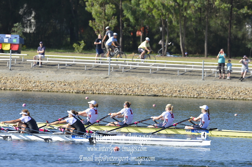 Sydney, Australia.  Women's Quadruple Sculls Final. USA W4X. Bow Mega KALMO, Esther OFGREN, Zsuzsann FRANCIA and Eleanor LOGAN, World Cup I. and  Sydney International Rowing Regatta. Sydney International Rowing Centre, Penrith Lakes, NSW. Sunday   24/03/2013 [Mandatory Credit. Peter Spurrier/Intersport Images]..
