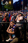 Rangers Fans in Manchester, 14/05/2008. Albert Square, UEFA Cup Final. Dejected fans of Glasgow Rangers in the centre of Manchester watching the UEFA Cup final against Zenit St. Petersburg on a large screen in Albert Square, the location of one of the UEFA Fan Zones. The match was staged at the City of Manchester Stadium and was won by the Russian team by two goals to nil. It was Rangers' first European final appearance since they won the Cup-Winners Cup in 1972 and around 150,000 fans gathered in Manchester. Photo by Colin McPherson.