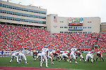 The Wisconsin Badgers offense lines up during an NCAA college football game against the San Jose State Spartans on September 11, 2010 at Camp Randall Stadium in Madison, Wisconsin. The Badgers beat San Jose State 27-14. (Photo by David Stluka)