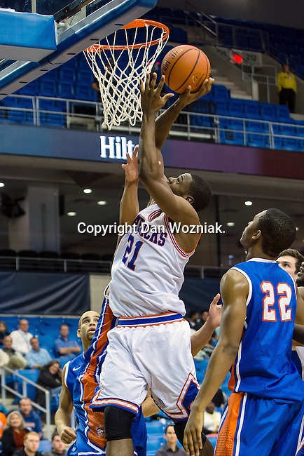 Texas-Arlington Mavericks forward Greg Gainey (21) in action during the game between the Houston Baptist Huskies and the Texas-Arlington Mavericks at the College Park Center arena in Arlington, Texas. UTA defeats Houston Baptist 81 to 47...