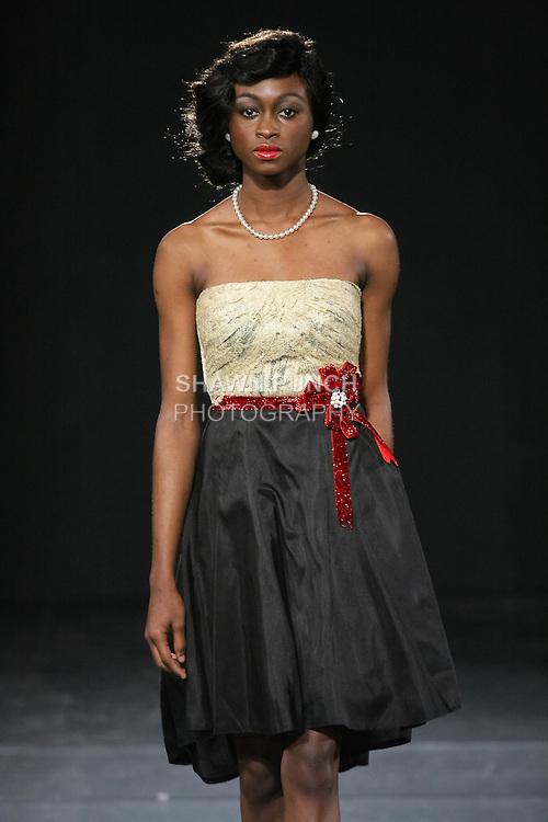 Model walks runway in a House Of Farrah Summer 2011 outfit, by Fatima Aliyu Garba, during Couture Fashion Week Fall 2011.