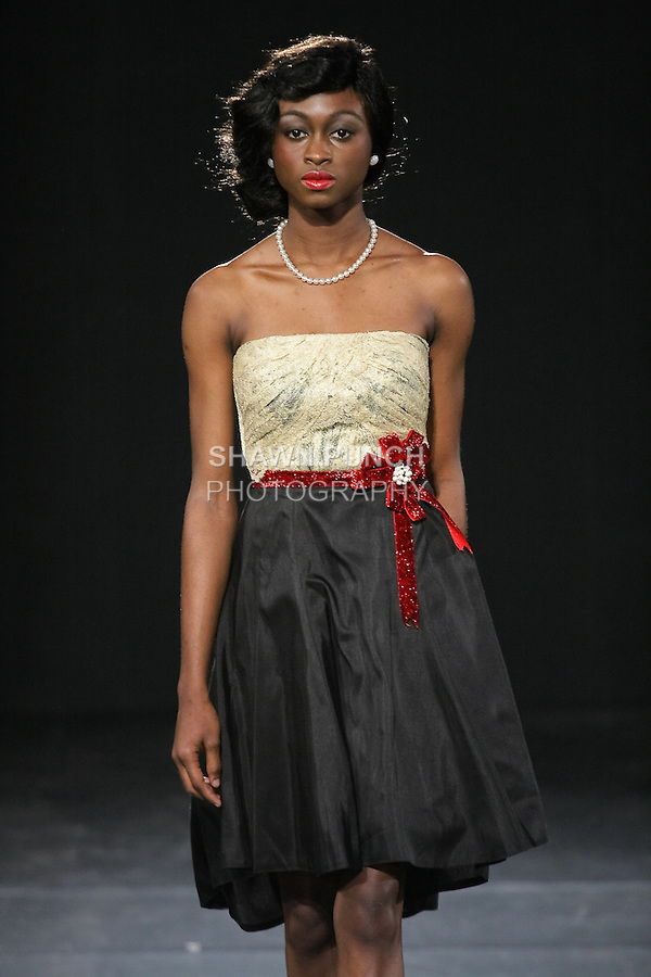 Model walks runway in a House Of Farrah Summer 2011 outfit, by Fatima Aliyu Garba, during Couture Fashion Week Fall 2011.