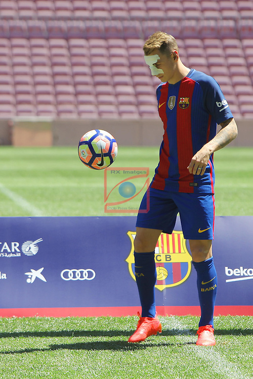 League BBVA 2016/2017.<br /> Lucas Digne presented as new player of FC Barcelona.