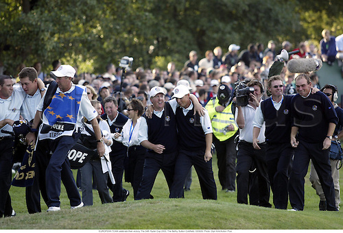 EUROPEAN TEAM celebrate their victory, The 34th Ryder Cup 2002, The Belfry, Sutton Coldfield, 020929. Photo: Glyn Kirk/Action Plus....golf golfer.celebrate celebration celebrations joy