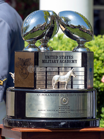 The Commander-in-Chief's Trophy is displayed prior to the arrival of United States President Donald J. Trump,k who will present it to the Military Academy football team in the Rose Garden of the White House in Washington, DC on Tuesday, May 1, 2018.  The Commander-in-Chief's trophy is presented to the winner of the annual Army-Navy football game which was played at Lincoln Financial Field in Philadelphia, Pennsylvania on December 9, 2017.  The Army Black Knights beat the Navy Midshipmen 14 - 13.<br /> Credit: Ron Sachs / CNP /MediaPunch