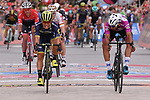 Caleb Ewan (AUS) Orica-Scott outsprints Fernando Gaviria (COL) Quick-Step Floors to win Stage 7 of the 100th edition of the Giro d'Italia 2017, running 224km from Castrovillari to Alberobello, Italy. 12th May 2017.<br /> Picture: LaPresse/Gian Mattia D'Alberto | Cyclefile<br /> <br /> <br /> All photos usage must carry mandatory copyright credit (&copy; Cyclefile | LaPresse/Gian Mattia D'Alberto)
