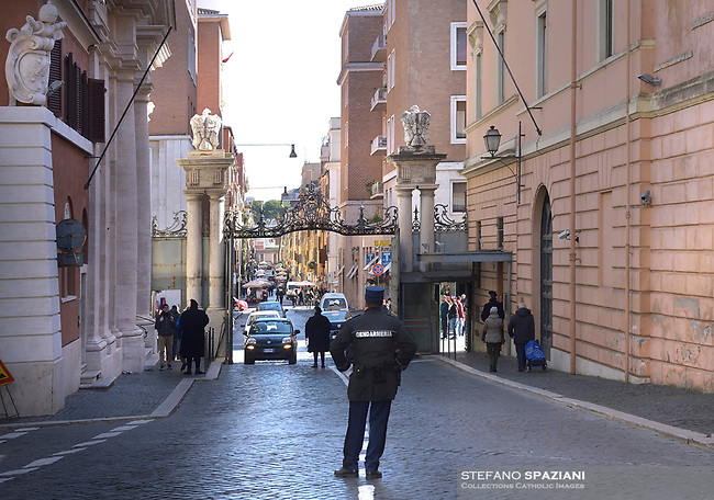 Port sant Anna one of the accesses to the Vatican.The Vatican's gendarme corps  of Vatican City State (Italian: Corpo della Gendarmeria dello Stato della Città del Vaticano) is the gendarmerie, or police and security force, of Vatican City and the extraterritorial properties of the Holy See.<br /> The 130-member corps is led by an Inspector General, currently Domenico Giani,The corps is responsible for security, public order, border control, traffic control, criminal investigation, and other general police duties in Vatican City.March 14, 2018