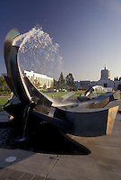 AJ3741, Salem, State Capitol, State House, Oregon, Fountain sculpture on the grounds of the State Capitol in the capital city of Salem in the state of Oregon. State Capitol Building in the background.