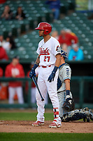 Peoria Chiefs designated hitter Ryan McCarvel (27) at bat during a game against the West Michigan Whitecaps on May 8, 2017 at Dozer Park in Peoria, Illinois.  West Michigan defeated Peoria 7-2.  (Mike Janes/Four Seam Images)