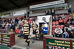 The players of Alloa Athletc football club taking to the field at Ochilview stadium, Larbert, before their team's Irn Bru Scottish League second division match against Stenhousemuir. Alloa won the match by one goal to nil against their local rivals in a match watched by 619 spectators.