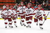 Ryan Grimshaw (Harvard - 6), Conor Morrison (Harvard - 38), Dan Ford (Harvard - 5), Michael Biega (Harvard - 27) and Alex Killorn (Harvard - 19) - The Harvard University Crimson defeated the visiting Colgate University Raiders 6-2 (2 EN) on Friday, January 28, 2011, at Bright Hockey Center in Cambridge, Massachusetts.