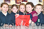 Team work: Pupils of Lyreacrompane National School who joined with Scoil Naomh Brid in Duagh, hosted a scientific exhibition on Thursday. Pictured were Mairead McKenna, Rachel Murphy, Cara McMahon, Edmund Healy and Mike Keane, all in senior infants.   Copyright Kerry's Eye 2008