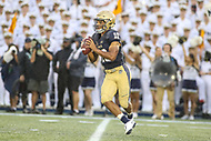 Annapolis, MD - September 8, 2018: Navy Midshipmen quarterback Malcolm Perry (10) attempts to pass the ball during the game between Memphis and Navy at  Navy-Marine Corps Memorial Stadium in Annapolis, MD.   (Photo by Elliott Brown/Media Images International)
