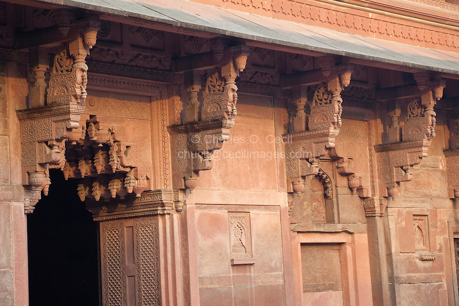 Agra, India.  Jahangiri Mahal.  Elaborately-Carved Supports in the Indian Style Hold the Upper Level.