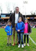 Danny Grewcock poses for a photo with his children at half time. Aviva Premiership match, between Bath Rugby and Sale Sharks on April 23, 2016 at the Recreation Ground in Bath, England. Photo by: Patrick Khachfe / Onside Images
