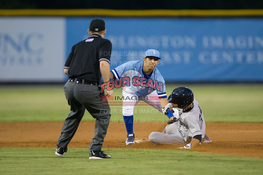 Hoy Jun Park (34) of the Pulaski Yankees is tagged out at second base by Burlington Royals shortstop Jose Martinez (2) as umpire Russ Weich looks on at Burlington Athletic Park on August 6, 2015 in Burlington, North Carolina.  The Royals defeated the Yankees 1-0. (Brian Westerholt/Four Seam Images)
