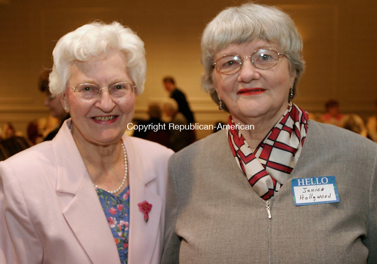 SOUTHBURY, CT - 02 APRIL 2005 - 040205JS03--Event Co-chairs Edith Sherman , left and Janice Hollywood at the 25th anniversary of the Naugatuck and Greater Waterbury Branches American Association of University Women luncheon held Saturday at the Southbury Hilton.  --Jim Shannon Photo --Naugatuck and Greater Waterbury Branches American Association of University Women; Edith Sherman, Janice Hollywood are CQ