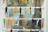 Display of peelers in Design Technology dept.  State secondary school.