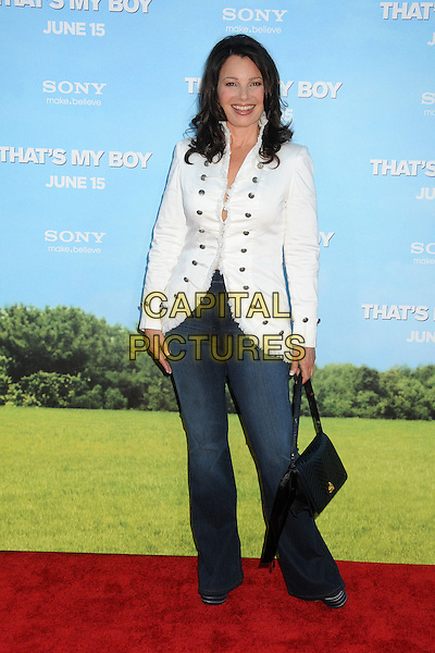 "Fran Drescher.""That's My Boy"" Los Angeles Premiere held at the Regency Village Theatre, Westwood, California, USA..June 4th, 2012.full length white jacket jeans denim  bag purse black .CAP/ADM/BP.©Byron Purvis/AdMedia/Capital Pictures."