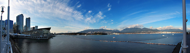 A 180 degree panoramic composite image of the view across the Burrard Inlet from Vancouver's Main Media Center in Vancouver at the XXI Olympic Winter Games on Wednesday, Feb 9, 2010.