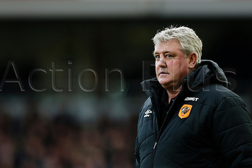18.01.2015.  London, England. Barclays Premier League. West Ham versus Hull City.  Hull City manager Steve Bruce looks on pensively during the game