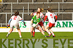 Tyrone swarm defence Louise Ní Mhuirtceartaigh is tripled marked by Tyrone's Tori McLaughlin, Neamh Woods and Maria Donnelly in Fitzgerald Stadium on Sunday during their NFL division 1 clash