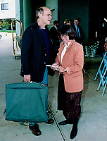 Ann Arbor, Michigan, USA, October 19, 1992<br /> Jim Carville Clinton's political advisor leaves the hotel in Ann Arbor enroute to the debate. Credit: Mark Reinstein/MediaPunch