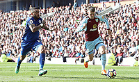 Burnley's Johann Gudmundsson under pressure from Leicester City's Danny Simpson<br /> <br /> Photographer Rich Linley/CameraSport<br /> <br /> The Premier League - Burnley v Leicester City - Saturday 14th April 2018 - Turf Moor - Burnley<br /> <br /> World Copyright &copy; 2018 CameraSport. All rights reserved. 43 Linden Ave. Countesthorpe. Leicester. England. LE8 5PG - Tel: +44 (0) 116 277 4147 - admin@camerasport.com - www.camerasport.com