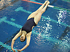 Olivia McNicholas of Kellenberg, a female competitor, competes in the NYSPHSAA varsity boys diving Federation Championship at Nassau Aquatic Center in East Meadow on Friday, March 2, 2018.