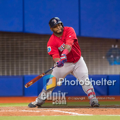 1 April 2016: Boston Red Sox third baseman Pablo Sandoval in action during a pre-season exhibition series between the Toronto Blue Jays and the Boston Red Sox at Olympic Stadium in Montreal, Quebec, Canada. The Red Sox defeated the Blue Jays 4-2 in the first of two MLB weekend games, which saw an attendance of 52,682 at the former home on the Montreal Expos. Mandatory Credit: Ed Wolfstein Photo *** RAW (NEF) Image File Available ***