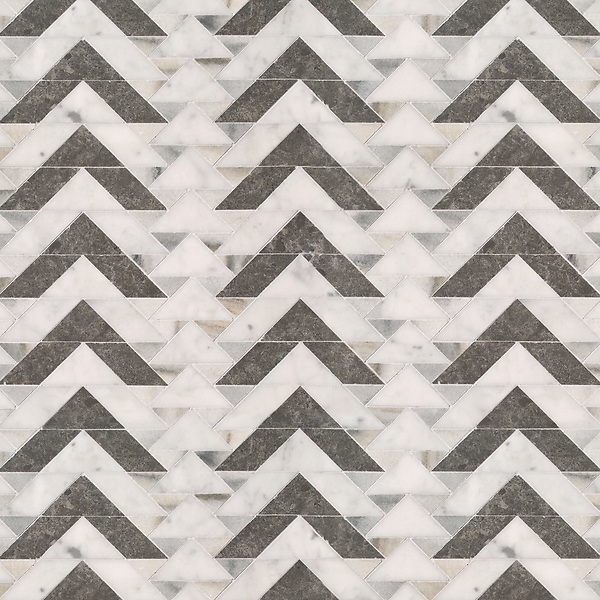 Echo, a stone waterjet mosaic, shown in honed Cashmere, Carrara, and Cavern.