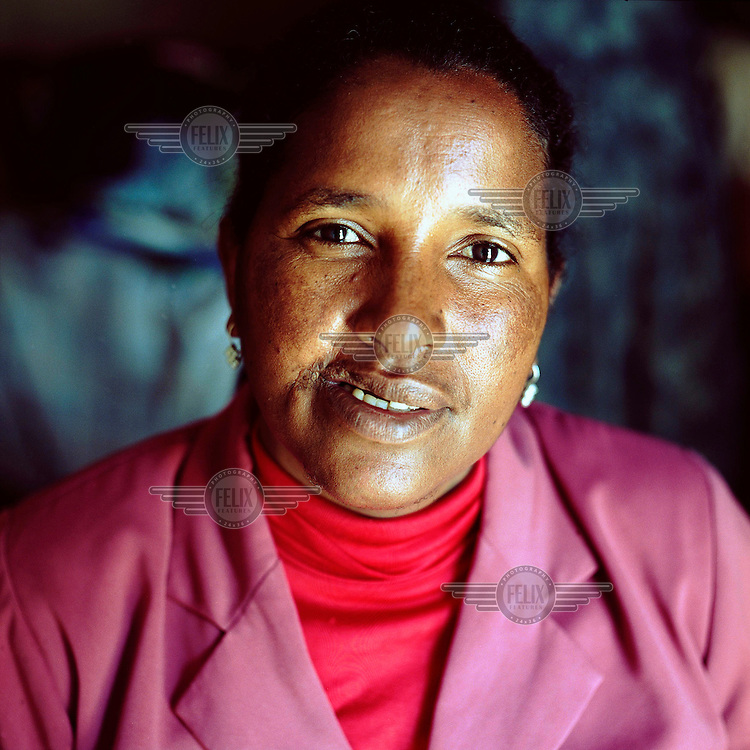 Metslal Abera, a former combatant with the Tigrayan People's Liberation Front (TPLF), currently works as a secretary. The mother of two is now trying to return to a civilian life.