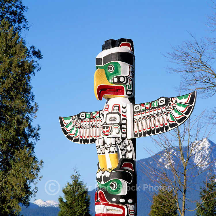 Vancouver, BC, British Columbia, Canada - Totem Pole at Brockton Point in Stanley Park, in Spring