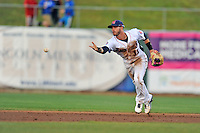 Tennessee Smokies second baseman Stephen Bruno #11 starts the front end of a double play during a game against Huntsville Stars at Smokies Park on April 25, 2014 in Kodak, Tennessee. The Stars defeated the Smokies 15-1. (Tony Farlow/Four Seam Images)