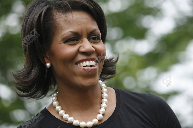 Michelle Obama, wife of Democratic presidential candidate Barack Obama, visits the New Hampshire Women for Obama Kick-Off Fair in Concord, New Hampshire, June 2, 2007.