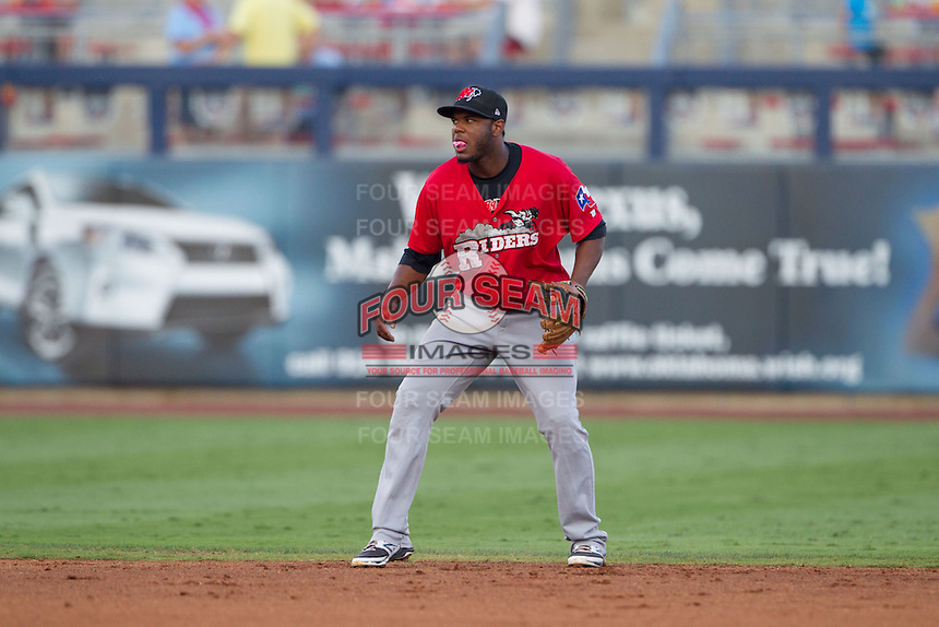 Frisco RoughRiders shortstop Hanser Alberto (37) during the Texas League game against the Tulsa Drillers at ONEOK field on August 15, 2014 in Tulsa, Oklahoma  The RoughRiders defeated the Drillers 8-2.  (William Purnell/Four Seam Images)