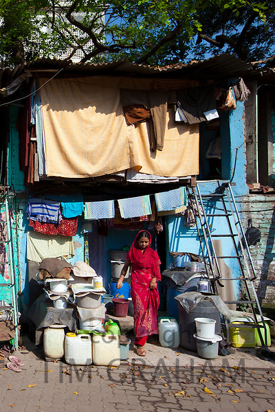 Slum housing and slum dwellers in Mahalaxmi area of Mumbai, India