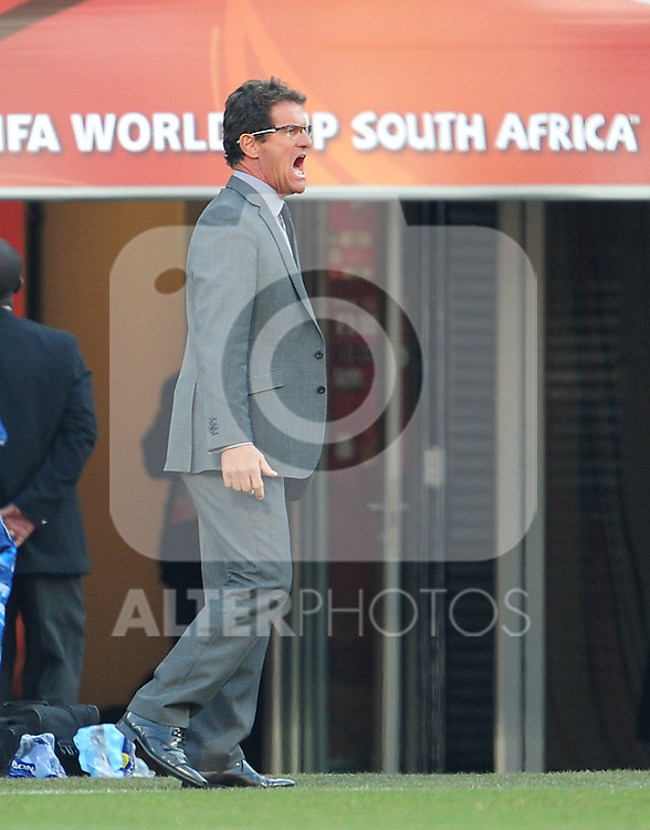 A frustrated Fabio Capello during the 2010 World Cup Soccer match between England and Germany in a group 16 match played at the Freestate Stadium in Bloemfontein South Africa on 27 June 2010.