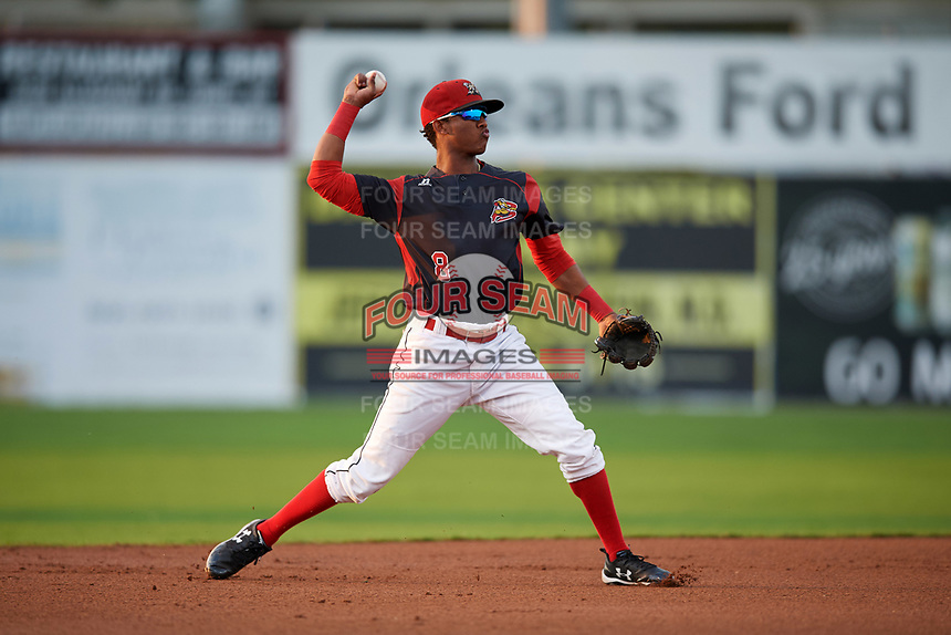 Batavia Muckdogs shortstop Marcos Rivera (8) throws to first base for the out during a game against the Mahoning Valley Scrappers on September 5, 2017 at Dwyer Stadium in Batavia, New York.  Mahoning Valley defeated Batavia 4-3.  (Mike Janes/Four Seam Images)