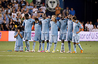 Roger Espinoza, Kei Kamara, Paulo Nagamura, C.J. Sapong, Chance Myers, Lawrence Olum, Julio Cesar, Graham Zusi. Sporting Kansas City won the Lamar Hunt U.S. Open Cup on penalty kicks after tying the Seattle Sounders in overtime at Livestrong Sporting Park in Kansas City, Kansas.