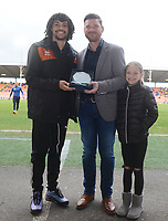 Blackpool's Nya Kirby is presented with his player of the month award for April<br /> <br /> Photographer Kevin Barnes/CameraSport<br /> <br /> The EFL Sky Bet League One - Blackpool v Gillingham - Saturday 4th May 2019 - Bloomfield Road - Blackpool<br /> <br /> World Copyright © 2019 CameraSport. All rights reserved. 43 Linden Ave. Countesthorpe. Leicester. England. LE8 5PG - Tel: +44 (0) 116 277 4147 - admin@camerasport.com - www.camerasport.com