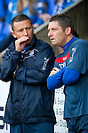 St Johnstone v Hearts...25.09.11   SPL Week 9.Derek McInnes chats with Tony Docherty.Picture by Graeme Hart..Copyright Perthshire Picture Agency.Tel: 01738 623350  Mobile: 07990 594431