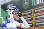 Thibaut Pinot (FRA) FDJ at sign on before the start of the 111th edition of Il Lombardia 2017 &quot; The Race of the Falling Leaves&quot; the final monument of the season, running 247km from Bergamo to Como, Italy. 7th October 2017.<br /> Picture: LaPresse/Fabio Ferrari | Cyclefile<br /> <br /> <br /> All photos usage must carry mandatory copyright credit (&copy; Cyclefile | LaPresse/Fabio Ferrari)